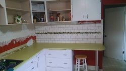 This view shows the installation of the accent row, a nice decorative feature.