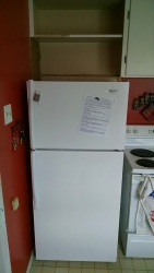 Here we have the refrigerator in its new position, which allowed for the counter to be extended.
