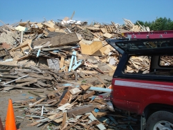 Demolition materials being recycled